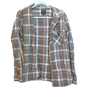 J. Crew Sporting Goods Brown Plaid Flannel Shirt